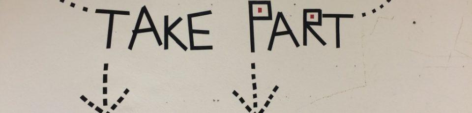Das Bild zeigt den Schriftzug Take Part, entstanden im Projekt Making art, taking part