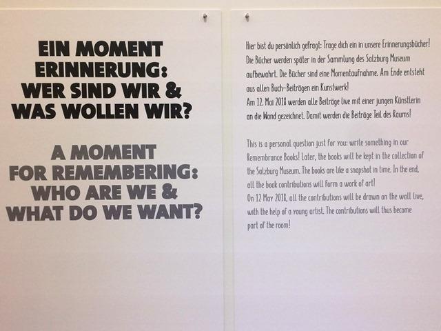 Das Foto zeigt einen Aushang im Studieo Geschichte des Salzburg Museum zum Thema Erinnern