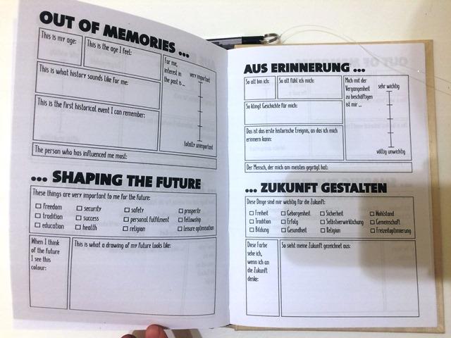 Das Bild zeigt einen Fragebogen zum Thema Aus Erinnerung Zukunft gestalten