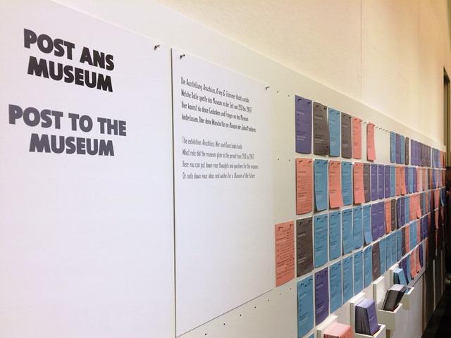 Das Bild zeigt die Aufforderung zu Post ans Salzburg Museum und zahlreiche Zettel, auf denen die Besucher was geschrieben haben