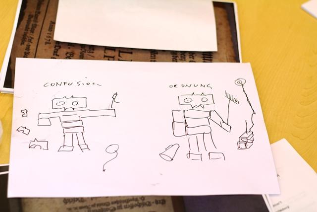 Das Bild zeigt eine Skizze der Monster aus Karton die im Workshop mit Tomash Schoiswohl gebaut wurden.