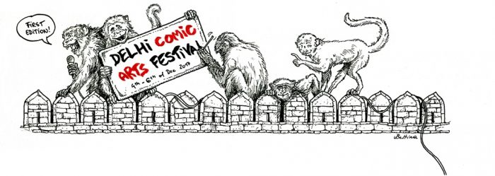 Vier Affen sitzen auf einer Mauer, einer hält ein Schild mit der Aufschrift Delhi Comic Arts Festival