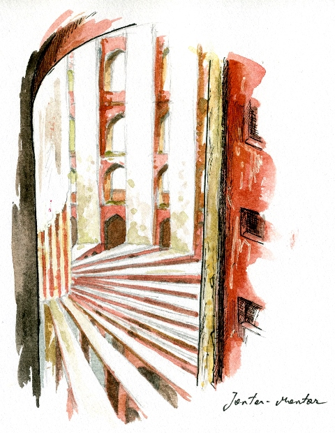 zeichnung von Bettina Egger: eine Stiege und Mauern mit Fenster