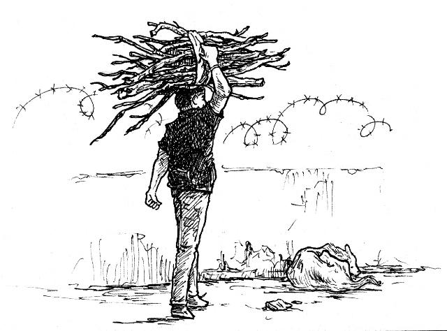 Die Zeichnung ist von bettina egger und zeigt einen Mann mit einem Holzbündel, der in Richung eines Stacheldrahts geht