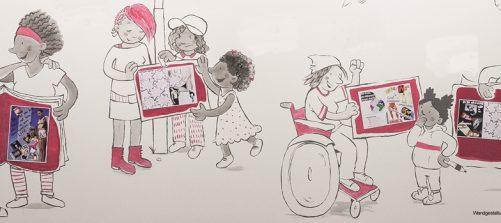Comiczeichnung an einer Wand. es zeigt unterschiedliche Frauen und Mädchen