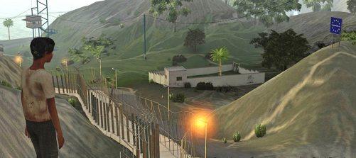 Ausschnitt aus dem Computerspiel Frontiers. Ein Mensch schaut über einen Grenzzaun in Richtung Europa