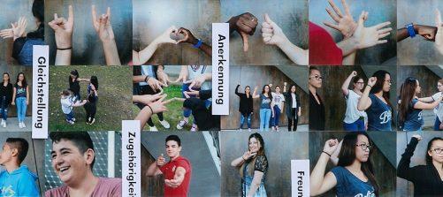 Fotos von Jugendlichen mit verschiedenen Gesten. Dazwischen die Worte Gleichstellung, Anerkennung, Protest, Zugehörigkeit