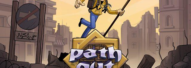 Titelbild des Spiels Path Out. Die Figur eines jungen Mannes mit einem Rucksack und einem Stock zwischen Kriegstruinen.