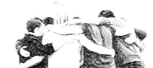 eine Gruppe Personen steht umarmt im Kreis. Das Foto ist bearbeitet und sieht aus wie eine Zeichnung