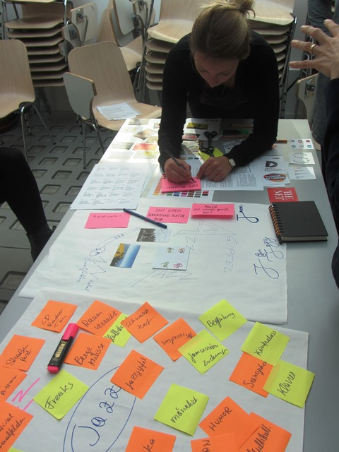 Das Foto zeigt eine Person, die an einem Tisch etwas schreibt. Auf großem Packpapier sind bereits Bilder und Aufschriften zjm Thema Jazz zu sehen,.