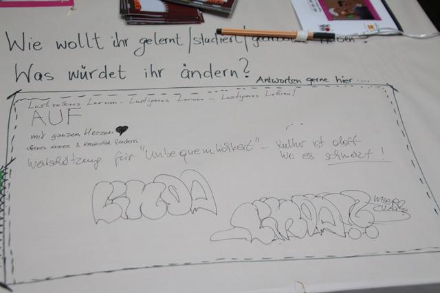 weißes papier auf einem tisch mit der frage was wollt ihr gelernt studiert haben was würdet ihr ändern