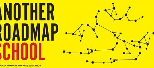 logo Another Roadmap School vor gelbem hintergrund mit punkten, die mit linien verbunden sind