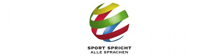 logo sport spricht alle sprachen mit kugel, die aus bunten bändern besteht