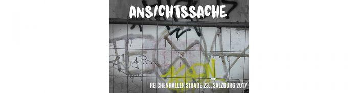 logo ansichtssache mit grafiti mauer im hintergrund