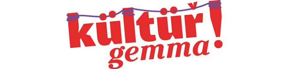 logo kültür gemma mit roter schrift und lila faden zwischen den buchstaben