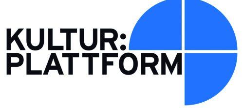 logo kultur:plattform mit 3 blauen kreisvierteln