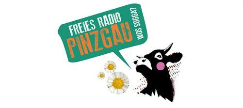 Logo Freies Radio Pinzgau wos sogga mit Kuh und gänseblümchen