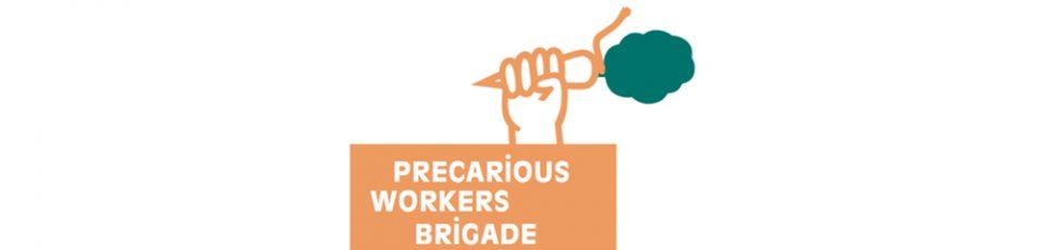logo precarious workers brigade in orange mit hand die karotte hält