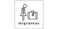logo migrantas mit einer figur und einem koffer