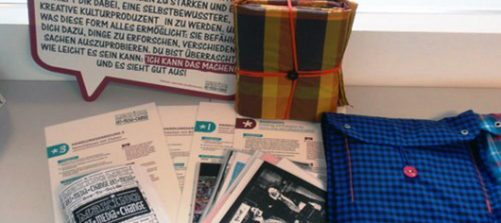 verschiedene toolbox materialien: zines, sprechblase, stofftaschen