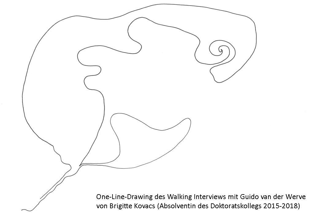 one line drawing von brigitte kovacs. eine schwarze linie auf weißem hintergund.