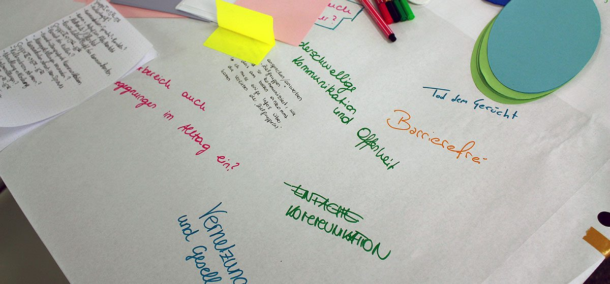 das bild zeigt papier auf einem tisch mit beschriftungen: barrierefrei, einfach kommunikation, niederschwelllige kommunikation und offenheit