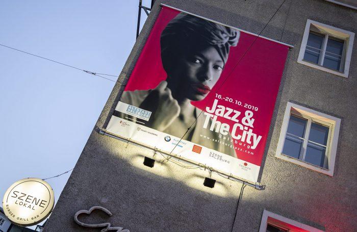 Plakat von Jazz and the city 2019 an einer mauer