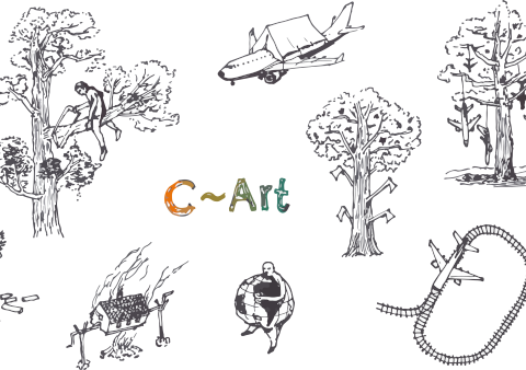 c-art schriftzug mit zeichnungen von umweltzerstörung
