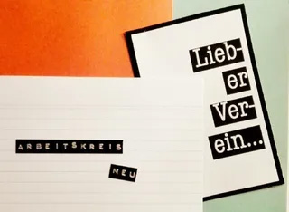 Das Bild zeigt vor weißorangegrünem Hintergrund die Schriftzüge Arbeitskreis Neu Lieber Verein