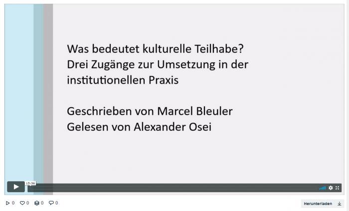was bedeutet kulturelle teilhabe drei zugänge zur umsetzung in der institutionellen praxis. geschrieben von marcel bleuler, gelesen von alexander osei