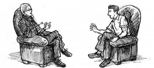 zeichnung eines interviews: 2 personen sitzen sich auf polstersesseln gegenüber