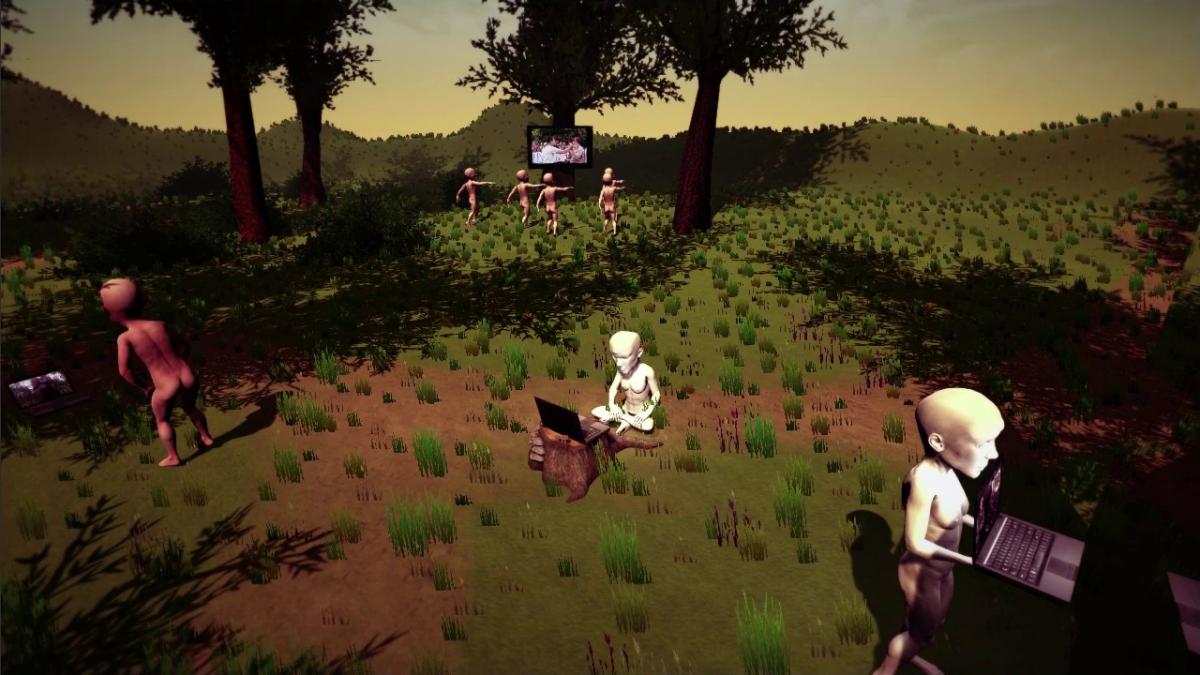 bild aus einem computerspiel, eine landschaft mit figuren und bildschirmen