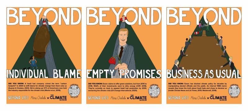 The three posters from the Beyond Lies campaign. Illustrations by Mona Chalabi.